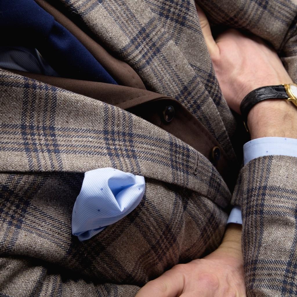 Bruin blauw geruite blazer